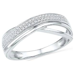 Round Diamond Crossover Band Ring 1/6 Cttw 10KT White