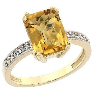 3.70 CTW Quartz & Diamond Ring 14K Yellow Gold