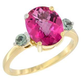 2.64 CTW Pink Topaz & Green Sapphire Ring 10K Yellow