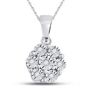 Round Diamond Cluster Pendant 1/20 Cttw 10KT White Gold