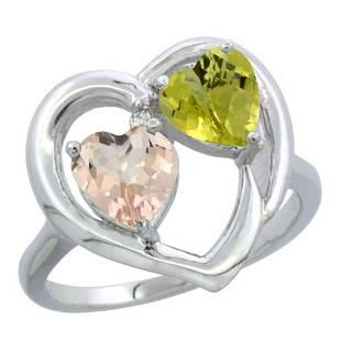 1.91 CTW Diamond, Morganite & Lemon Quartz Ring 10K