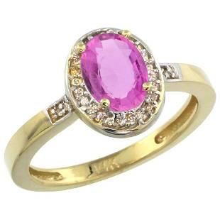 1.15 CTW Pink Sapphire & Diamond Ring 10K Yellow Gold