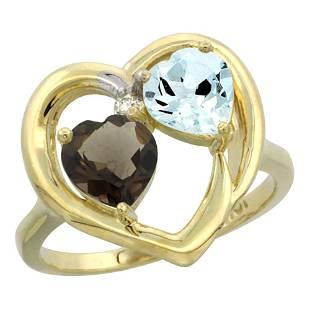 2.61 CTW Diamond, Quartz & Aquamarine Ring 10K Yellow
