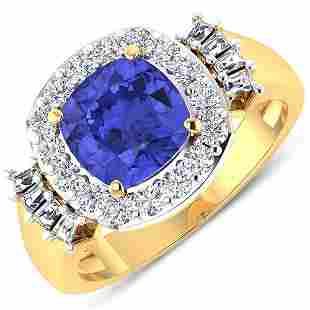 Natural 2.83 CTW Tanzanite & Diamond Ring 14K Yellow