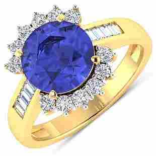 Natural 3.48 CTW Tanzanite & Diamond Ring 14K Yellow