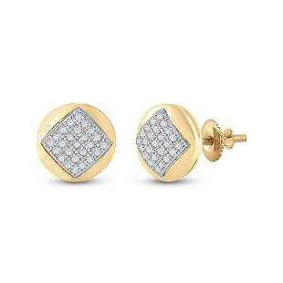 Round Diamond Cluster Earrings 1/6 Cttw 10KT Yellow