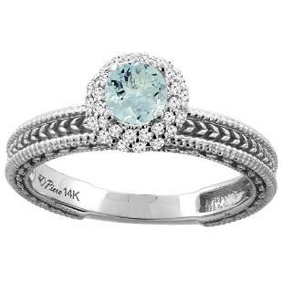 0.67 CTW Aquamarine & Diamond Ring 14K White Gold