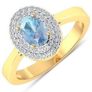 Natural 0.76 CTW Aquamarine & Diamond Ring 14K Yellow