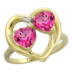 2.60 CTW Pink Topaz Ring 14K Yellow Gold