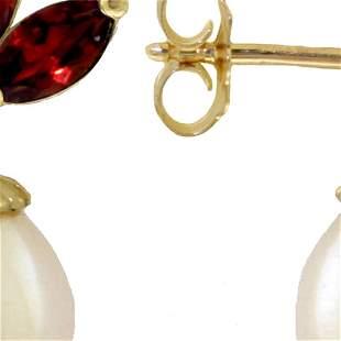 Genuine 9.5 ctw Garnet & Pearl Earrings 14KT White Gold