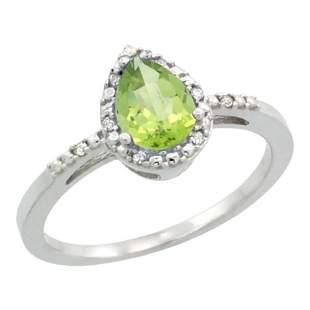 1.55 CTW Peridot & Diamond Ring 10K White Gold
