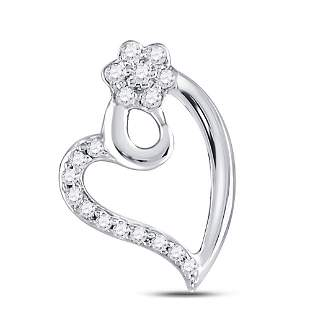 Round Diamond Floral Heart Pendant 1/10 Cttw 10KT White