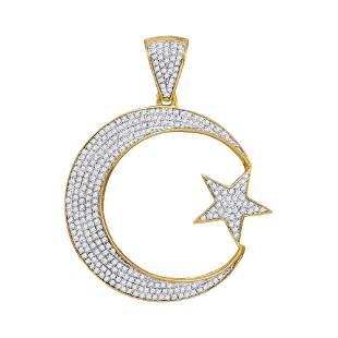Round Diamond Star & Crescent Charm Pendant 3/4 Cttw