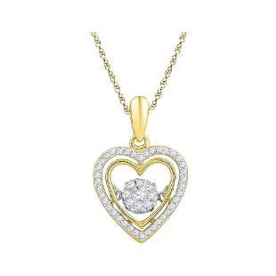Round Diamond Moving Twinkle Heart Pendant 1/4 Cttw