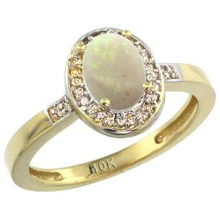 0.61 CTW Opal & Diamond Ring 10K Yellow Gold