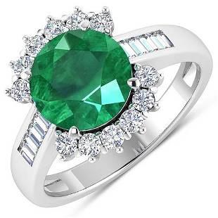 Natural 3.18 CTW Zambian Emerald & Diamond Ring 14K