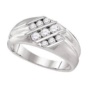 Round Diamond Wedding Triple Row Band Ring 5/8 Cttw