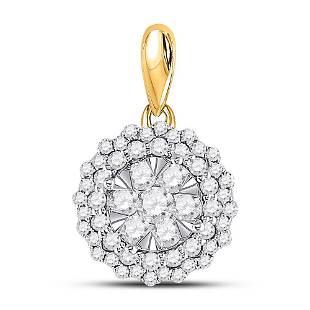 Round Diamond Circle Flower Cluster Pendant 1/2 Cttw
