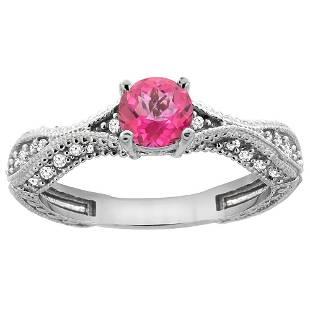 0.81 CTW Pink Topaz & Diamond Ring 14K White Gold