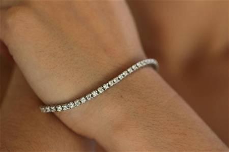 Natural 3.32 ctw Diamond Eternity Tennis Bracelet 14K