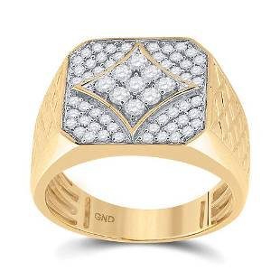 Round Diamond Square Cluster Textured Ring 3/4 Cttw