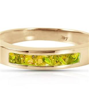 Genuine 0.60 ctw Peridot Ring 14KT Yellow Gold