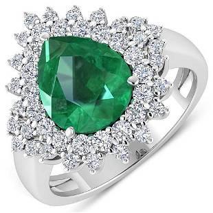 Natural 3.74 CTW Zambian Emerald & Diamond Ring 14K