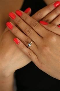 Natural 0.57 ctw Black Diamond Solitaire Ring 14K White