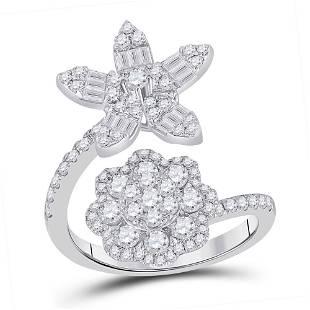 Baguette Diamond Bypass Flower Cocktail Ring 1-1/3 Cttw
