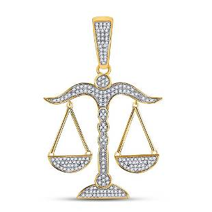 Round Diamond Scales of Justice Charm Pendant 1/2 Cttw