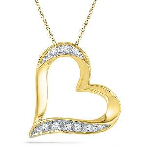 Round Diamond Heart Pendant .03 Cttw 10KT Yellow Gold