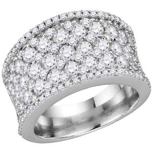 Round Diamond Pave Band Ring 3-1/4 Cttw 14KT White Gold