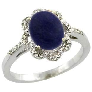 1.90 CTW Lapis Lazuli & Diamond Ring 10K White Gold