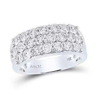 Round Diamond Triple Row Pave Band Ring 2 Cttw 14KT