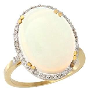10.35 CTW Opal & Diamond Ring 10K Yellow Gold