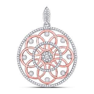 Round Diamond Circle Pendant 1/2 Cttw 10KT Two-tone