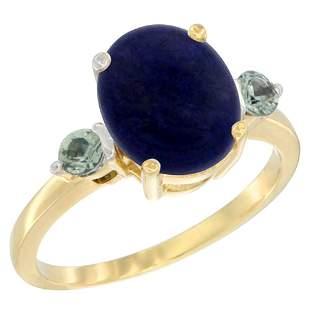 2.74 CTW Lapis Lazuli & Green Sapphire Ring 14K Yellow