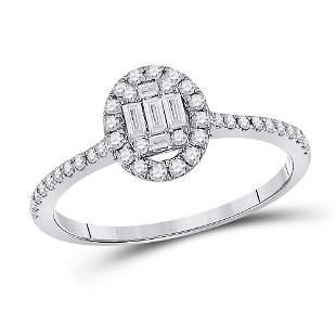 Baguette Diamond Oval Cluster Ring 1/3 Cttw 14KT White