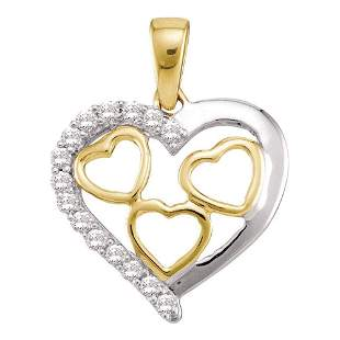 Round Diamond Two-tone Nested Heart Pendant 1/5 Cttw