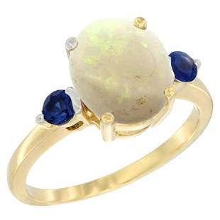 1.65 CTW Opal & Blue Sapphire Ring 14K Yellow Gold
