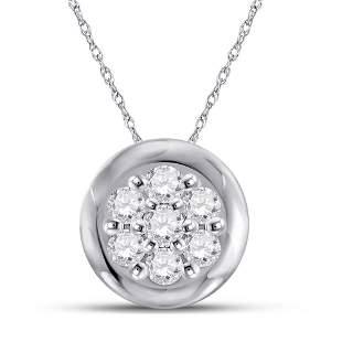 Round Diamond Flower Cluster Pendant 1/10 Cttw 10KT