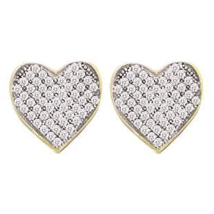 Round Diamond Heart Cluster Earrings 1/6 Cttw 10KT