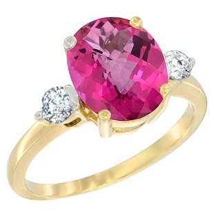 2.60 CTW Pink Topaz & Diamond Ring 10K Yellow Gold -
