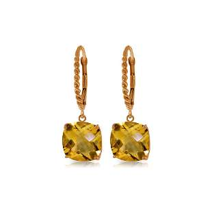 Genuine 7.2 ctw Citrine Earrings 14KT Rose Gold -