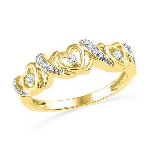 Round Diamond Heart Band Ring 1/8 Cttw 10KT Yellow Gold