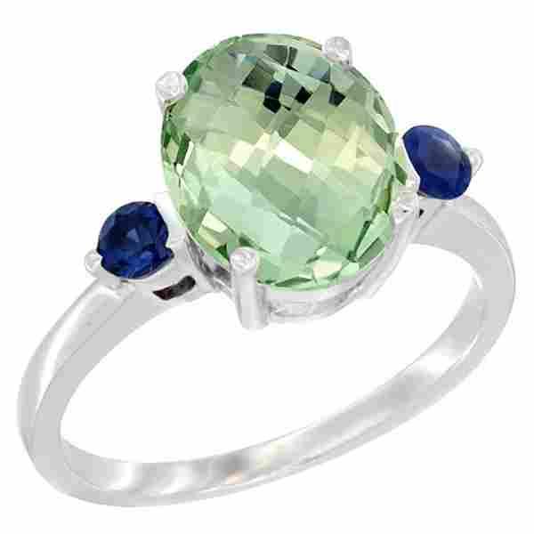 2.64 CTW Amethyst & Blue Sapphire Ring 14K White Gold -