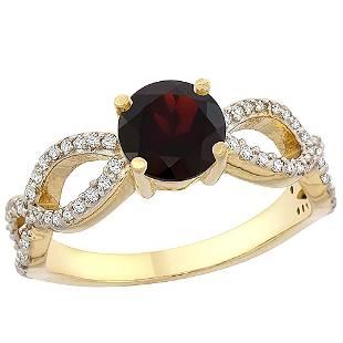 1.26 CTW Garnet & Diamond Ring 14K Yellow Gold -