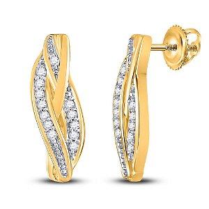 Round Diamond Vertical Bar Earrings 1/20 Cttw 10KT
