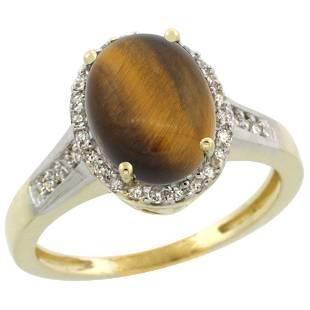 2.60 CTW Tiger Eye & Diamond Ring 14K Yellow Gold -