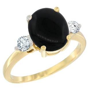 1.75 CTW Onyx & Diamond Ring 14K Yellow Gold -